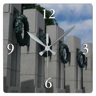 World War II Memorial Wreaths I Wall Clock