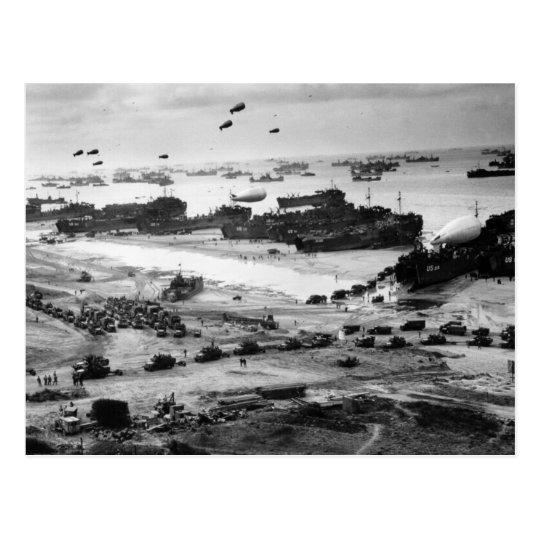 World War II Normandy Beach Supplies Delivered Postcard