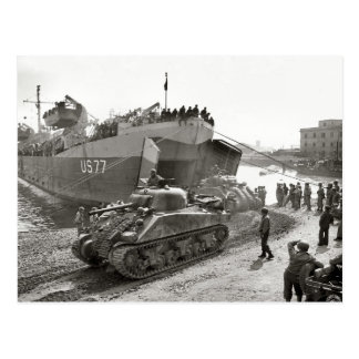 World War II  Sherman tanks disembarking in Anzio Postcard