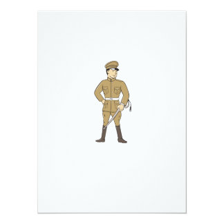 World War One British Officer Sword Standing Carto 14 Cm X 19 Cm Invitation Card