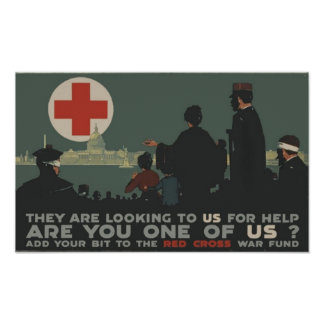 World War One Red Cross Patriotic Military Poster