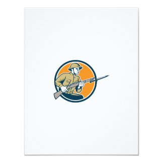 World War One Soldier American Retro Circle Personalised Announcements