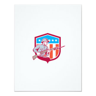 World War One Soldier American Retro Shield Personalised Invite