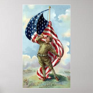World War One Soldier -- Border Poster