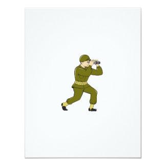 World War Two American Soldier Binoculars Cartoon 11 Cm X 14 Cm Invitation Card