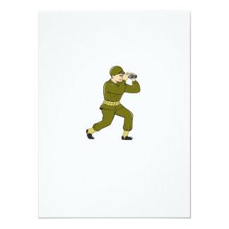 World War Two American Soldier Binoculars Cartoon 14 Cm X 19 Cm Invitation Card