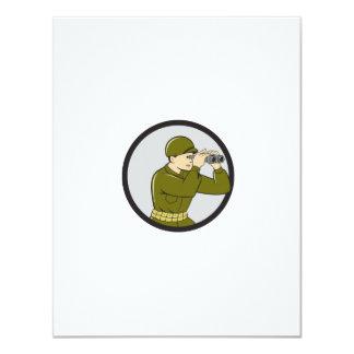 World War Two American Soldier Binoculars Circle C 11 Cm X 14 Cm Invitation Card