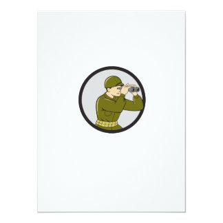 World War Two American Soldier Binoculars Circle C 14 Cm X 19 Cm Invitation Card