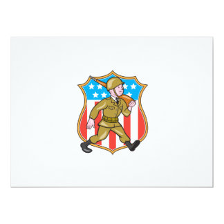 World War Two Soldier American Cartoon Shield Personalized Announcement