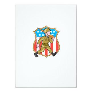 World War Two Soldier American Cartoon Shield Invitations