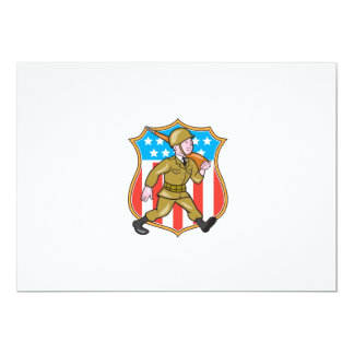 World War Two Soldier American Cartoon Shield Custom Announcement