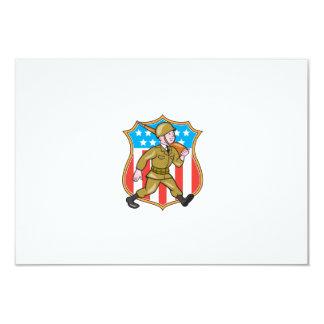 World War Two Soldier American Cartoon Shield Invites