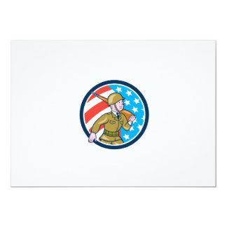 World War Two Soldier American Marching Cartoon Ci 13 Cm X 18 Cm Invitation Card