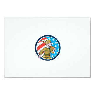 World War Two Soldier American Marching Cartoon Ci Personalized Invitation
