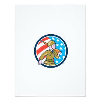 World War Two Soldier American Marching Cartoon Ci Invitations