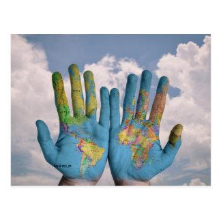 Worldly hands postcard