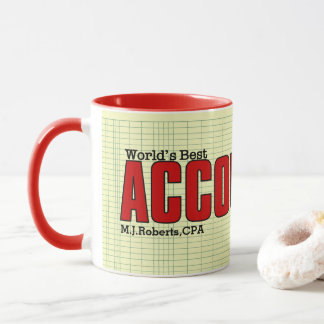 World's Best Accountant with Ledger and Name Mug