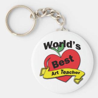 World's Best Art Teacher Basic Round Button Key Ring