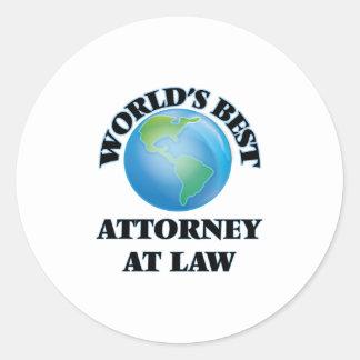World's Best Attorney At Law Round Stickers