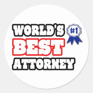 World's Best Attorney Round Sticker