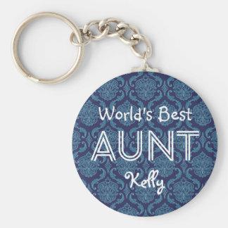 World's Best AUNT Custom  Dark Blue Damask Gift 14 Key Ring