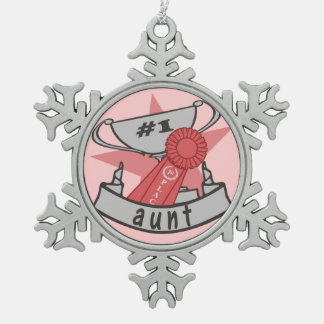 World's Best Aunt Snowflake Pewter Christmas Ornament