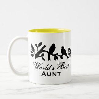 World's Best Aunt sparrows silhouette branch mug