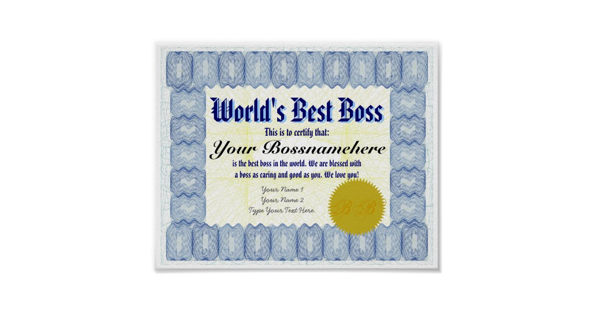 Certificate gifts on zazzle au world39s best b oss certificate print yelopaper Choice Image