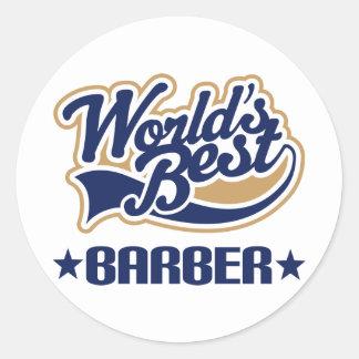 Worlds Best Barber Round Stickers