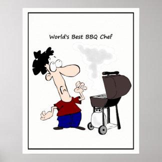 World's Best BBQ Chef Cartoon Poster