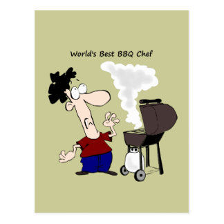 World's Best BBQ Chef Fun Quote for him Postcard
