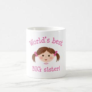 Worlds best big sister - brown hair coffee mug
