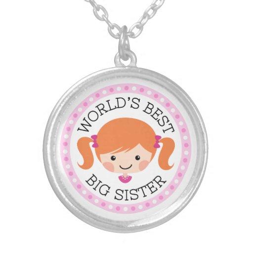 Worlds best big sister cartoon girl red hair pendant