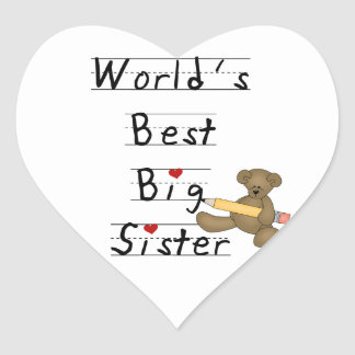 World's Best Big Sister Gifts Heart Stickers