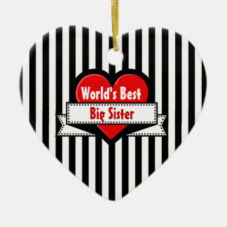 World's Best BIG SISTER Red Heart Ribbon 7 Ceramic Heart Decoration