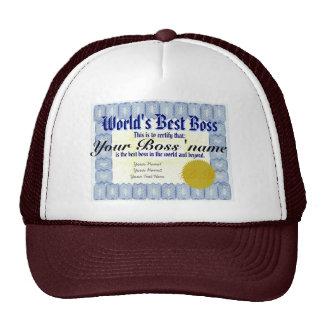 World's Best Boss Certificate Trucker Hats
