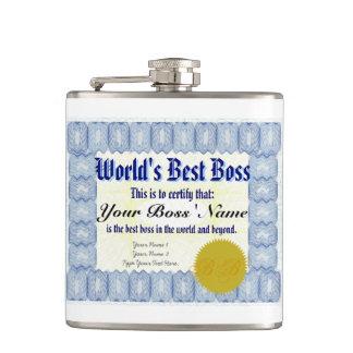 World's Best Boss Certificate Hip Flask
