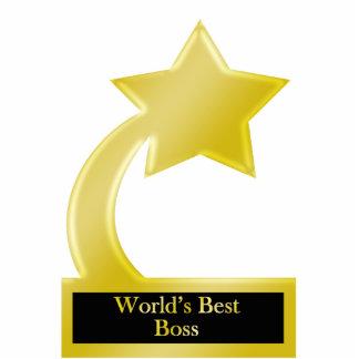 World's Best Boss, Gold Star Award Trophy Standing Photo Sculpture