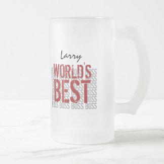 World's Best Boss Grunge Lettering Custom Name B20 Frosted Glass Mug