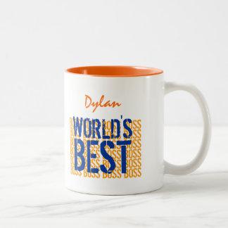 World's Best Boss OrangeBlue Grunge Lettering G455 Two-Tone Coffee Mug