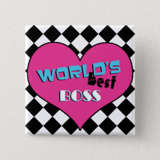 World's Best Boss - Pink Heart 15 Cm Square Badge