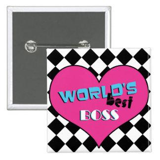 World's Best Boss - Pink Heart 15 Cm Square Badge