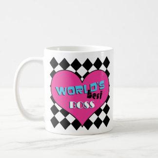 World's Best Boss - Pink Heart Basic White Mug