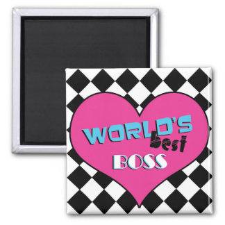 World's Best Boss - Pink Heart Square Magnet