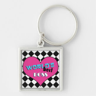 World's Best Boss - Pink Heart Silver-Colored Square Key Ring