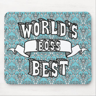 World's Best Boss Typography Text Floral Mousepad