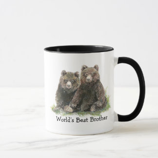World's Best Brother, Watercolor Cute Bears Mug