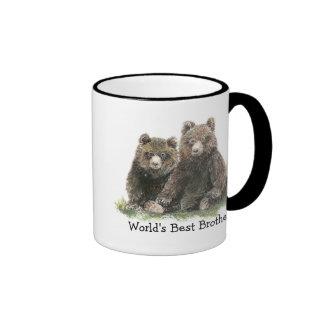 World's Best Brother, Watercolor Cute Bears Ringer Mug