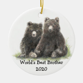 World's Best Brother with Cute Black Bear Family Round Ceramic Decoration