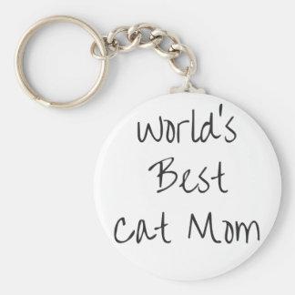 World's Best Cat Mom - Black Key Ring